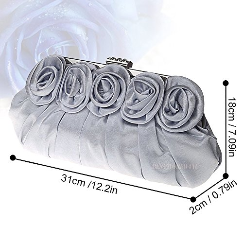 Clutch Party Silk Silver Rose Ladies Wedding Handbag Prom Evening Bridal Bag Satin Wocharm xqSIw0E