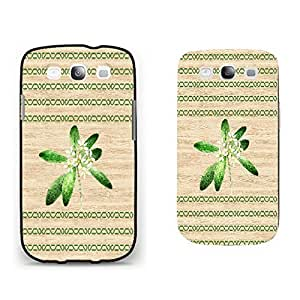 Cute Green Flowers on Wood Pattern Print Hard Plastic Protective Case Cover Samsung Galaxy S3 I9300 for Girls (black)