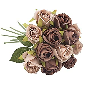 12 Pieces/Bouquet Artificial Rose Flower Real Touch Fake Flower Wedding Bride Hand Hold Valentine Party Home Decor,2 46