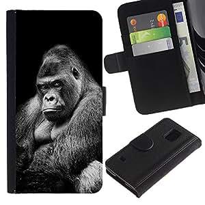 iBinBang / Flip Funda de Cuero Case Cover - Simio Gorila Negro Blanco Significado - Samsung Galaxy S5 V SM-G900
