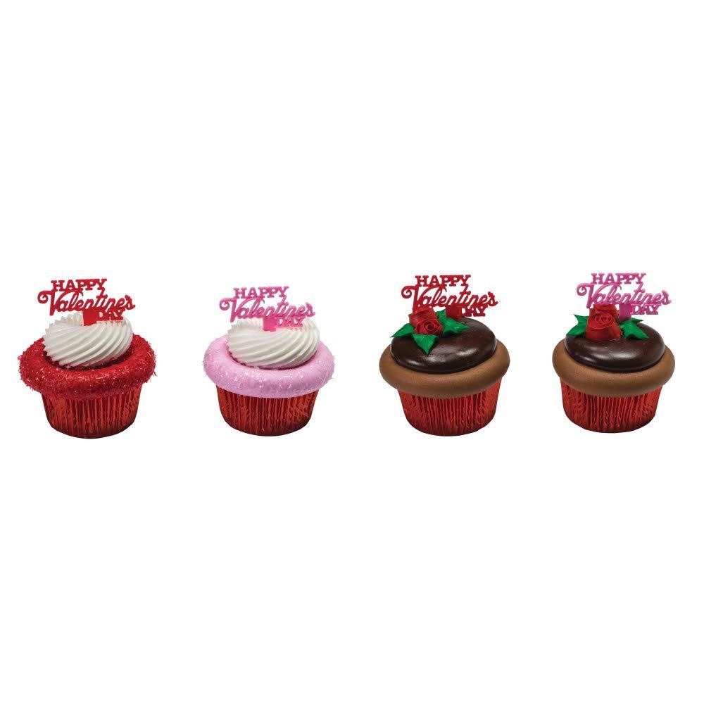 Baking Addict Cupcake Topper Decorations Cake Pop Dessert Decorating Picks Happy Valentine's Day, Wholesale Case of 1440 (10 Packs of 144)
