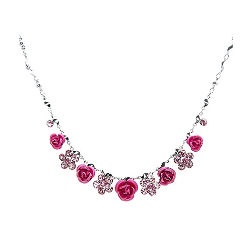 Glamorousky Elegant Rose Necklace with Pink Austrian Element Crystals 1020
