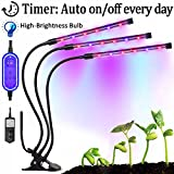 Upgraded 3 Head Plant Grow Light with Timer (4/8/12H) Auto Turn On/Off Every Day, LED Grow Lamp High-Brightness Bulb, Adjustable Gooseneck and 8 Dimmable Levels for Indoor Plants Greenhouse Office