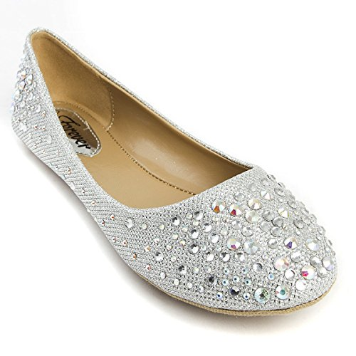V-Luxury Womens 32-LARISA39 Round Toe Flat Ballerina Ballet Shoes, Silver, 7 B (M) US