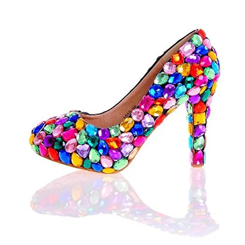 Fastyle Colorful Crystals Shoes Women's High Heels Shoes Woman Pumps for Weddings Prom Party 12cm Heels Size 8 from Fastyle