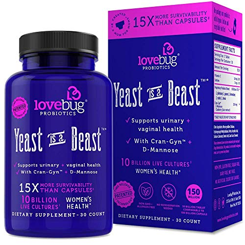 Lovebug Yeast Infection Support Probiotics - Feminine Women's Vaginal Health 30 Delayed Release Probiotic Tablets with Cranberry and D-Mannose Supplement - Promotes Urinary Tract + PH Balanced Flora (What's The Best Treatment For Yeast Infection)