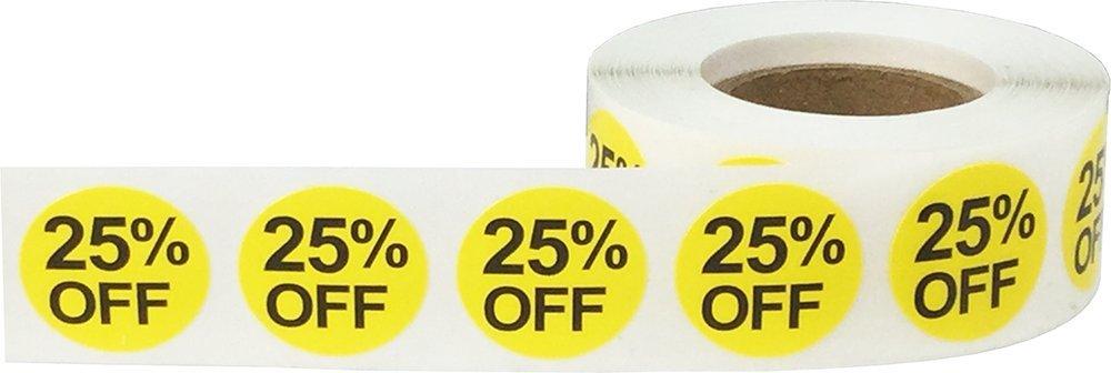 25/% Percent Off Stickers Yellow With Black Lettering 3//4 Inch 500 Adhesive Labels