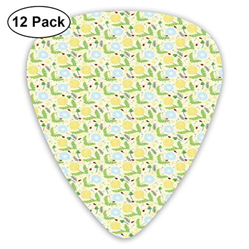 Guitar Picks 12-Pack,Composition Of Blowballs Ladybugs And Leaves Colorful Lively Spring Season Nature