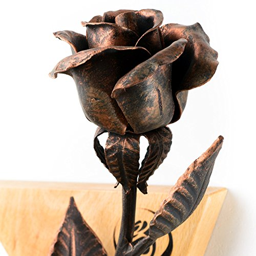 7th Anniversary Gift - Copper Rose + Wooden Wall Hanging by MetalArt (Image #4)