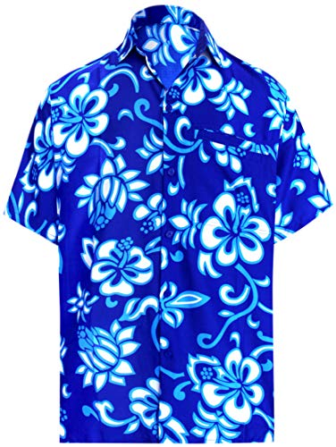 LA LEELA Likre Beach Point Collar Shirt Royal Blue 283 Medium | Chest 40