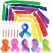 kilofly 6 Sets Kids Gymnastic Ribbon Wands + Athletic Dance Rainbow Scarves