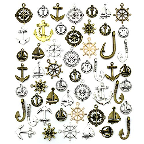 Nautical Anchor Rudder Helm Compass Charms, JIALEEY 100 Grams Mixed Ship Anchor Wheel Pendants Beads Charms for DIY Necklace Bracelet Jewelry Making Accessories for $<!--$7.59-->