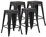 Poly and Bark Trattoria 24″ Counter Height Stool in Black (Set of 4) For Sale
