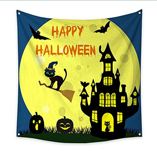 Apartment Decor Tapestry Happy Halloween A Halloween cat in a witch hat flies on a broomstick against the full moon at night Witch Castle two Halloween pumpkins volatile vampires and s 32W x 32L Inch ()