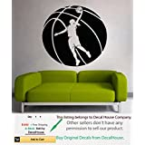 Basketball Wall Decal Vinyl Decal Sport People Basketball Game Woman Girl Player Ball Emblem Gym Interior Home Art Decor Kids Nursery Removable Stylish Sticker Mural Unique Design for Any Room m332