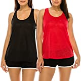 EttelLut Flowy Loose Neon Razorback Athletic Exercise Workout Basic Yoga Tank Tops Packs Black/Red L