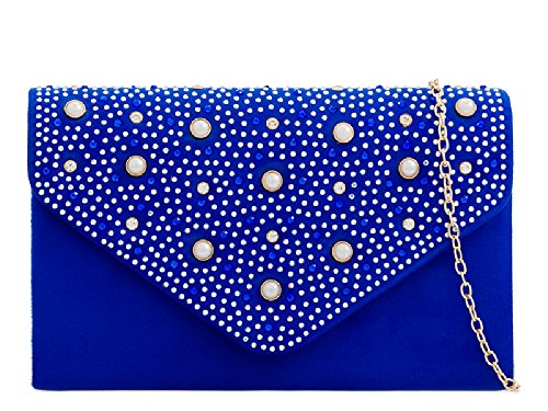 Bag Ladies Blue Pearl Women's KD2293 Bag Envelope Royal Clutch Handbag Suede Evening Purse Faux Party IprIF