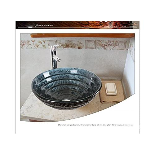 BL- BL-ue glass wash basin/sink/taps (42014512mm) , basin + faucet and accessories free shipping