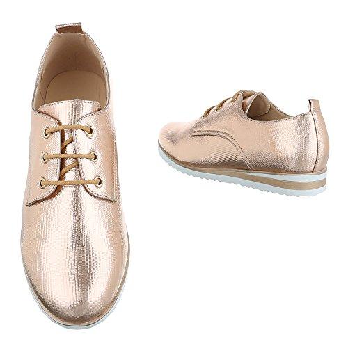 Damen Schuhe Halbschuhe Business Schnürer Schwarz Rosa