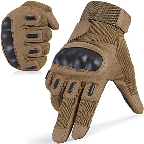 JIUSY Touch Screen Army Tactical Gloves Military Rubber Hard Knuckle Full Finger Gloves for Cycling Motorcycle Hunting Hiking Airsoft Paintball Outdoor Riding Shooting Sports Gear Size Brown Medium