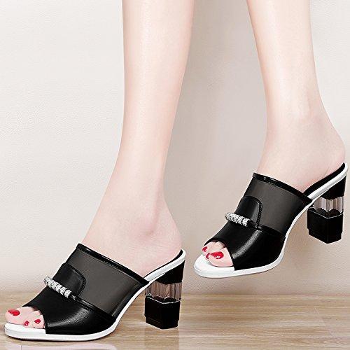 Jqdyl High Heels Neue Sommermode Wild Fruuml;hjahr High Heel Dick Mit Sandalen Weibliche Schuhe Hausschuhe  39|black