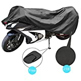 Motorcycle Cover for Sportbike,Dustproof 210D Polyester Fabric,Water Resistant for Indoor Outdoor Use,Weather Protection,Wind Gust Strap,Fits up to 90.2