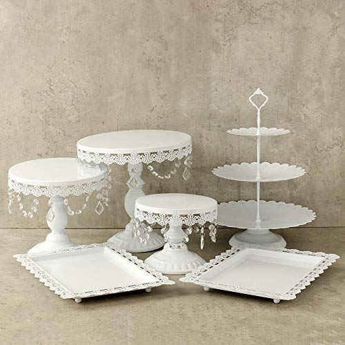 (Lucky Monet 6Pcs Crystals Cake Stand Cupcake Tower Stand Wedding Plates Set Metal Round Party Dessert Display Décor with Crystals Beads (6pcs, White) )