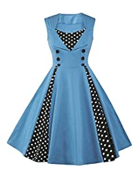 6 Colors Women Vintage Polka Dot Swing Party Dress Color Block Evening Costume