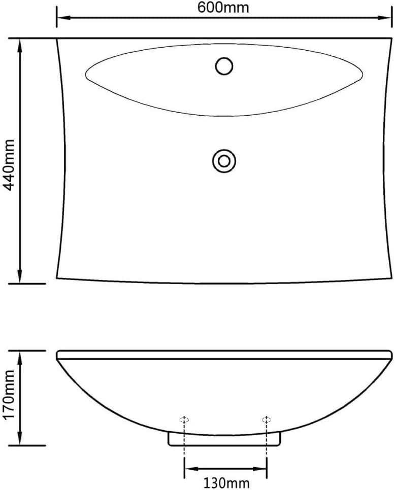 60x44x17 cm Festnight Lavabo Rectangular con Orificio de Grifo y Desag/üe Color de Blanco Material de Cer/ámica