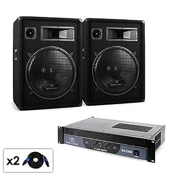 Malone Boom - Set PA 2.0 Amplificador, altavoces & cableado 1200 W