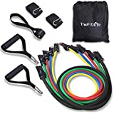 TheFitLife Exercise Resistance Bands with Handles - 5 Fitness Workout Bands Stackable up to 110 lbs, Training Tubes with Large Handles, Ankle Straps, Door Anchor Attachment and Carry Bag