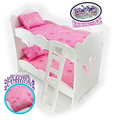 Matty's Toy Stop 18 Inch Doll Furniture White Wooden Bunk Beds with 2 Pink Pillows, 2 Pink Cushions & Ladder - Fits American Girl Dolls