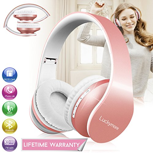 Over Ear Headphones, Bluetooth Wireless Headphones Stereo Hi-Fi Foldable Headsets with Mic and Soft Earmuffs for Girl Women Gym Sport Wired Mode for Cell Phone TV Computer Laptop iPhone Rose Gold