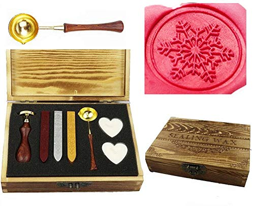MNYR Vintage Fancy Sealing Wax Seal Stamp Kit Melting Spoon Wax Stick Candle Wooden Book Gift Box Set Wedding Invitation Embellishment Holiday Card Gift Wrap Package Gift Idea Seal Stamp -