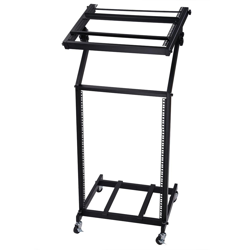 AW Rack Mount DJ Mixer Stand Studio Equipment Adjustable Stage Cart w/Wheel Music Party Show 16U AW-MCS000005