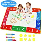 Water Doodle Mat - Large (39.4 x 27.5in) Aqua Magic Mat Kids Water Drawing Painting Pad with Water...