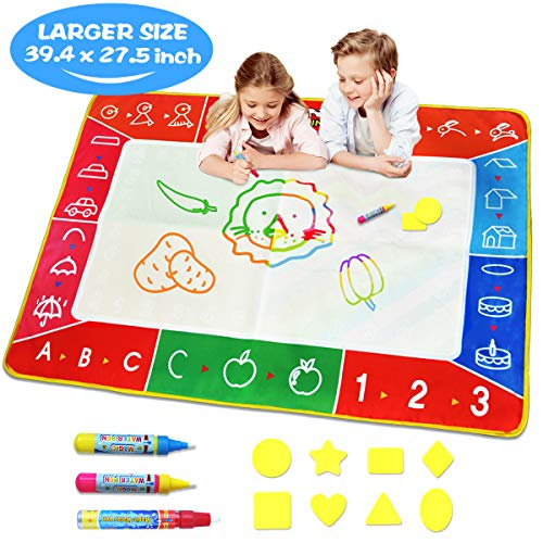 Water Doodle Mat - Large (39.4 x 27.5in) Aqua Magic Mat Kids Water Drawing Painting Pad with Water Pens & Stamps - Educational Toy&Toddler Gift for Girl Boy Age 1 2 3 4 5 6 7 8 9 10 11 12 Year Old ()