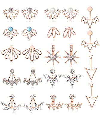 Tornito 12 Pairs Lotus Flower Earring Studs Chic CZ Earrings Jackets For Women Girls Silver Rose Gold Tone