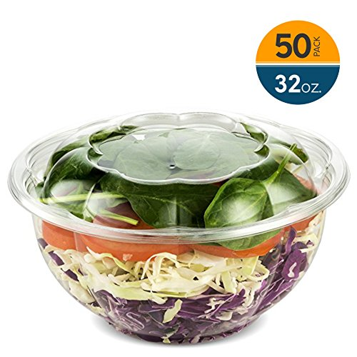 - 32 Ounce Clear Plastic Disposable Salad Containers with Lids in Bulk for a Fresh Airtight Seal, Portable Serving Bowl Set for Meal Prep & Preserve Freshness 32 Ounce 50 Pack by NYHI Direct
