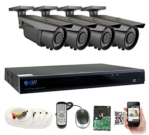Cheap GW Security 8-Channel 2.5K HD(5MP) Complete Security System with (4) x True HD 5MP 1920P Outdoor/Indoor 3.3-12mm Varifocal Zoom Bullet Security Cameras and 2TB HDD, QR Code Scan Free Remote View