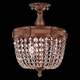 Worldwide Lighting Winchester Collection 3 Light French Gold Finish and Clear Crystal Semi Flush Mount Ceiling Light 12'' D x 14'' H Small