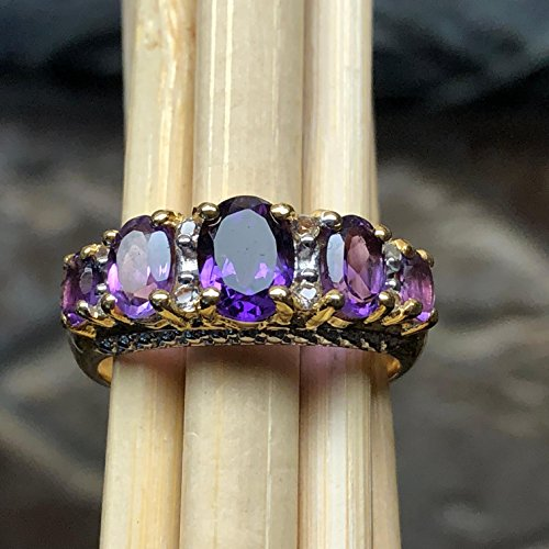 - Estate Natural 2.75ct Purple Amethyst, white Topaz 14K Yellow Gold over Sterling Silver designer Ring sz 7