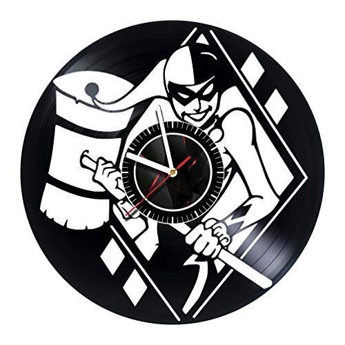 Harley Quinn - Wall Clock Made of Vinyl Record - Handmade Original Art Design - Great Gifts idea for Birthday, Wedding, Anniversary, Women, Men, Friends, Girlfriend Boyfriend and Teens