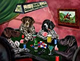 Home of German Shorthaired Pointers 4 Dogs Playing Poker Art Portrait Print Woven Throw Sherpa Plush Fleece Blanket (37x57 Sherpa)