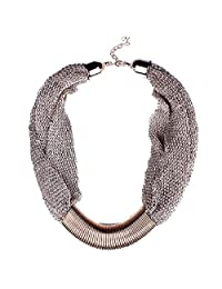 Qiyun Winter Mesh Web Link Chains Bold Chunky Tibet Bib Choker Necklace Maille Hiver Web Liens Tibet Collier