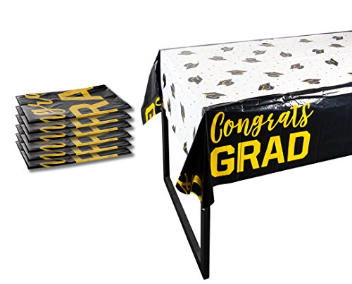 Plastic Table Covers - 6-Pack Congrats Grad Graduation Party Supplies Disposable Plastic Tablecloth, White, Black and Gold, 54 x 108 -