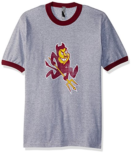 Ouray Sportswear NCAA Arizona State Sun Devils S/s Ringer T, Small, Athletic Heather/Maroon