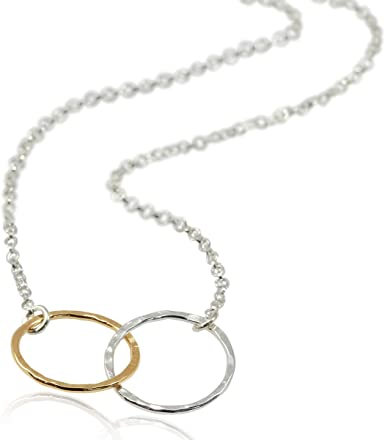 Two Silver Circles Necklace free shipping Eternity Double Circle Necklace