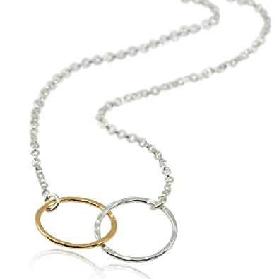 2d467efa92841 Two Tone Eternity Infinity Necklace 925 Sterling Silver & 14k Gold Filled,  18