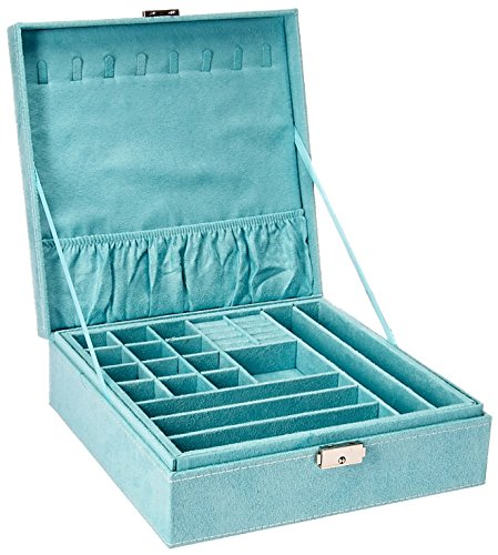 KLOUD City two-layer lint jewelry box organizer display storage case with lock (Blue) - Covered Jewelry Box